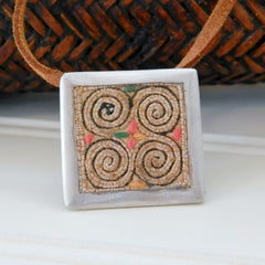 Vintage Hmong Fabric Pendant on Suede Cord (square frame)
