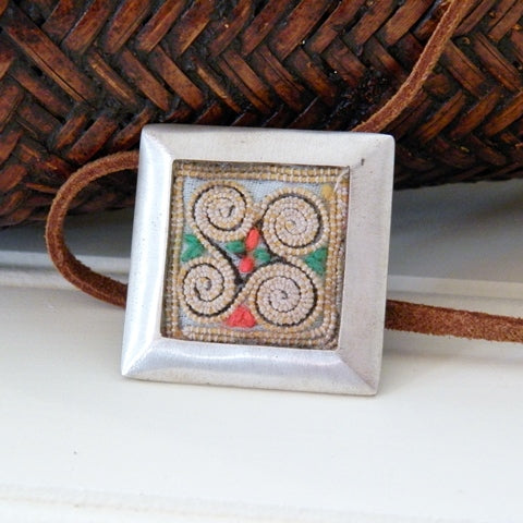 Vintage Hmong Fabric Pendant on Suede Cord (thick square frame)