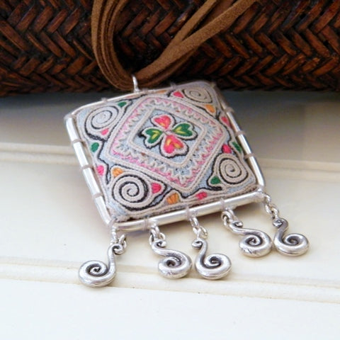 Vintage Hmong Fabric Pendant on Suede Cord (square frame with tassels)