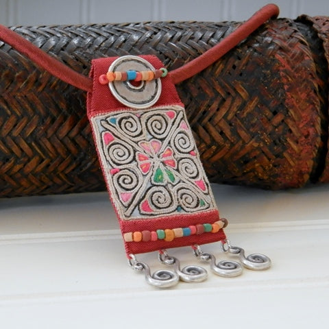 Vintage Hill Tribe Fabric Pendant on Silk Choker