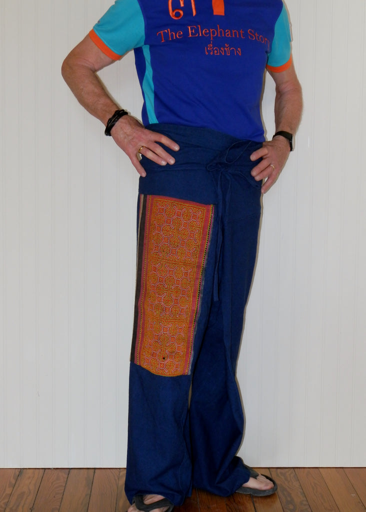 Fisherman Pants with Vintage Hill Tribe Fabric Patch (X-Large)