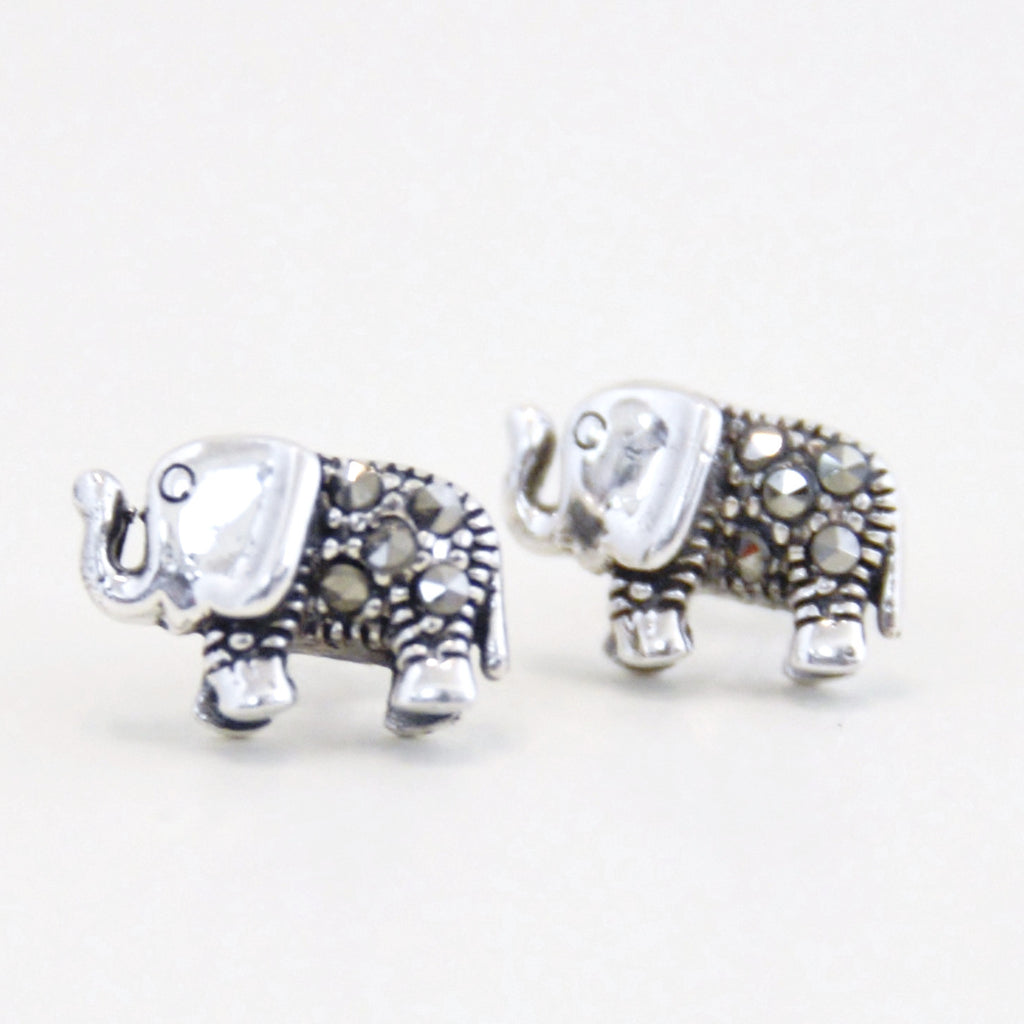 Rhinestone Elephant Stud Earrings