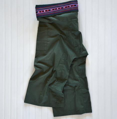 Thai Fisherman Pants with Pleated Cummerbund Style Waist - Green