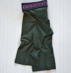 Cotton Fisherman Pants with Cumberbun Pleat Waist - Green (One Size Fits All)