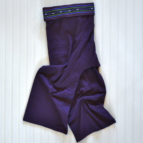 Thai Fisherman Pants with Pleated Cummerbund Style Waist - Plum