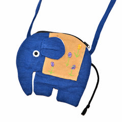 Elephant Shaped Mini Sling Bag - Large (Blue & Tan)