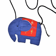 Elephant Shaped Mini Sling Bag (Blue & Red)