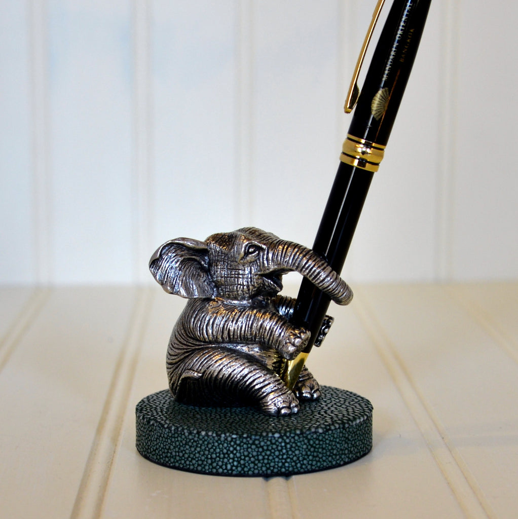 Pewter Elephant & Stingray Base Pen Holder - Olive