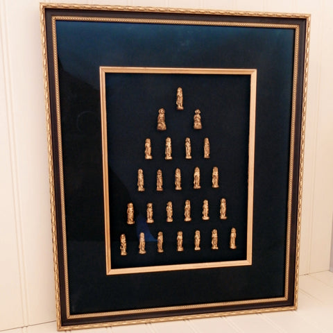 Gold Lacquered Buddhas (25 buddhas) in Shadow box Frame