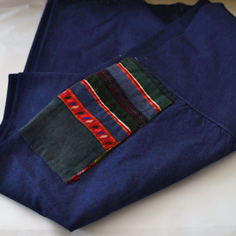 Denim Thai Fisherman Pants with Vintage Hill Tribe Fabric