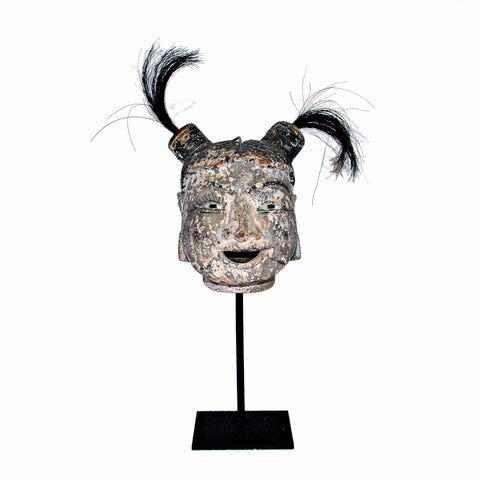 Antique Burmese Puppet Head on Stand