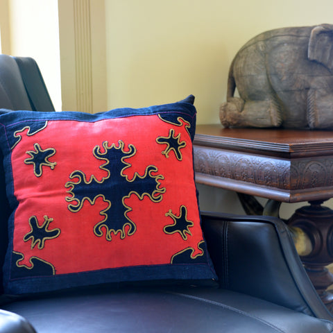 Pillow made of Vintage Yao Hill Tribe Fabric