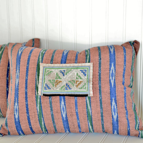 Pillow made of Vintage Hmong Hill Tribe Fabric
