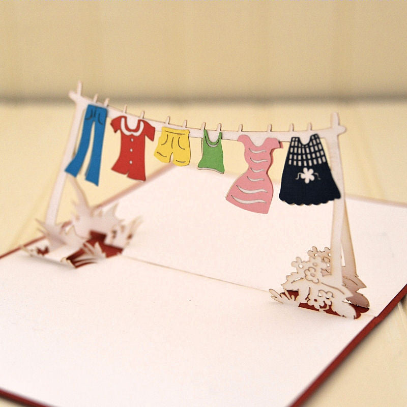 Vietnamese Hand-made Pop-up Card - Clothesline