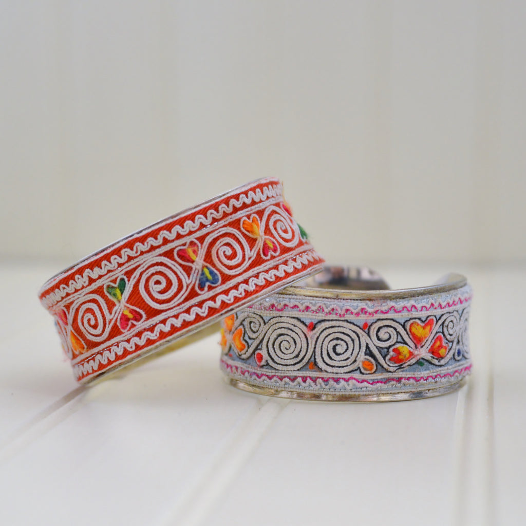 Hmong Cloth on Silver Bracelet