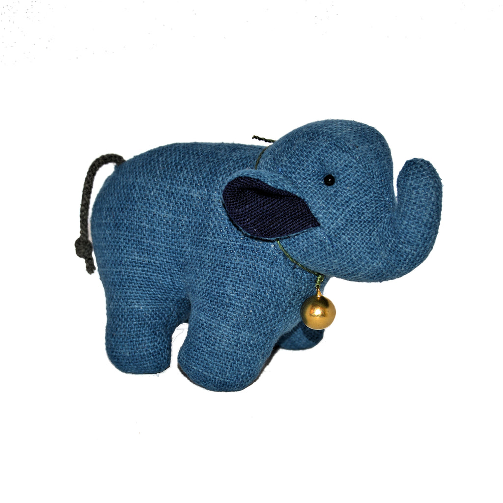 Indigo Blue Stuffed Elephant with Bell