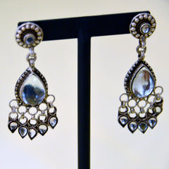 Indian Silver & Glass Earrings
