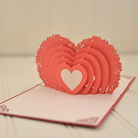 Vietnamese Hand-made Pop-up Card - Winged Heart