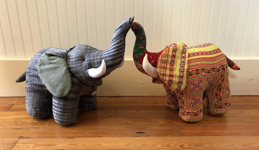 Tribal Fabric Stuffed Elephant with Tusks (Extra Large)