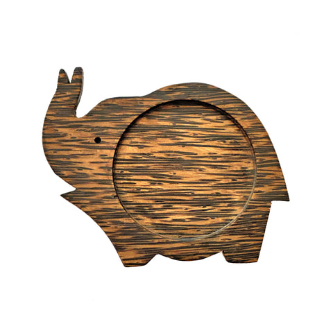 Coconut Wood Elephant Coaster - Trunk Up