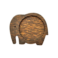 Coconut Wood Elephant Coaster - Trunk Down