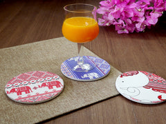 Water Absorbent Clay Coaster - Red Round Elephant
