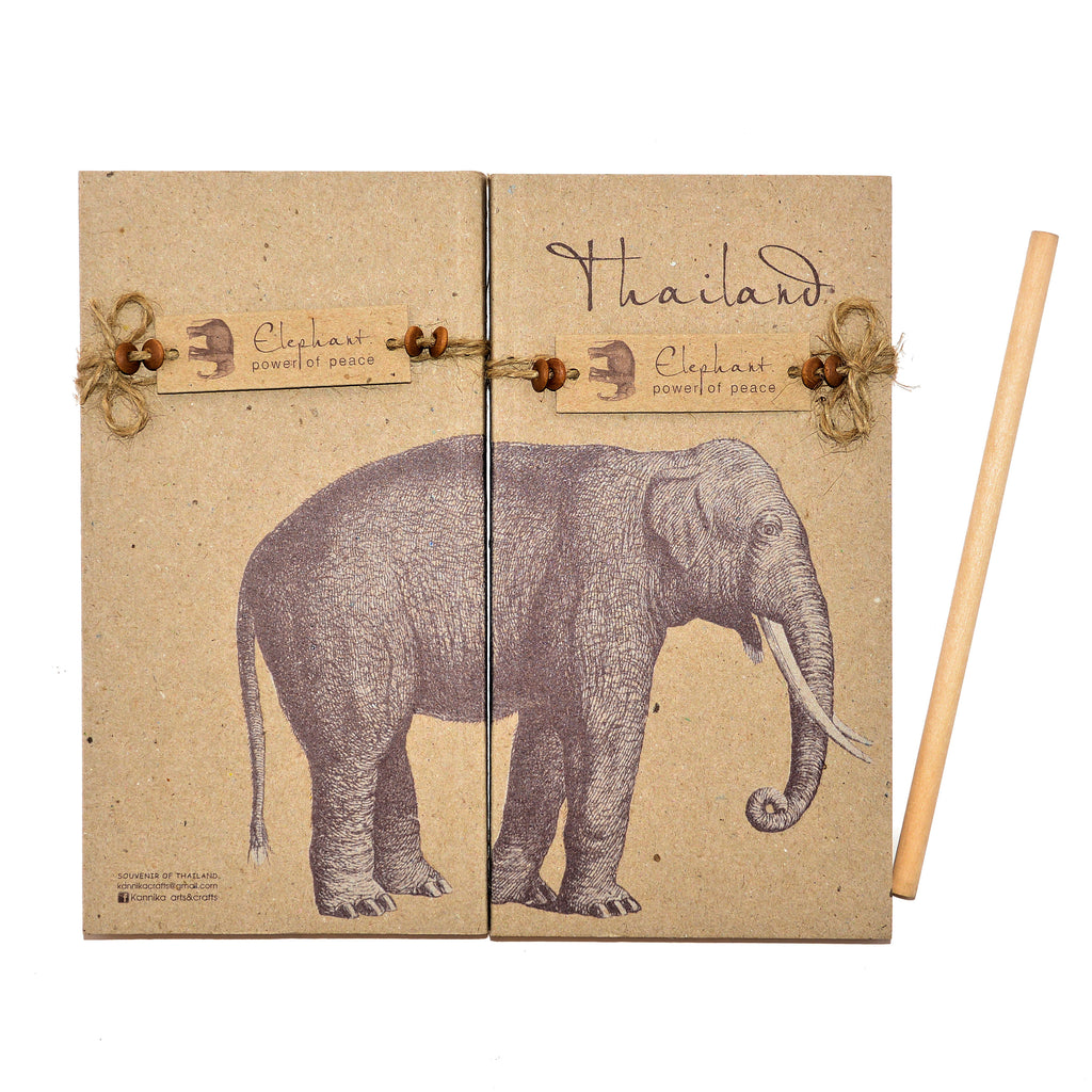 Thailand Elephant Notepads - 2 Large Size Pads & Pencil