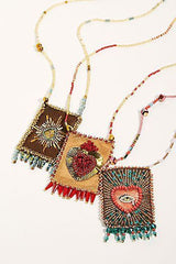 Olivia Dar Talisman Necklace - Gold and Red