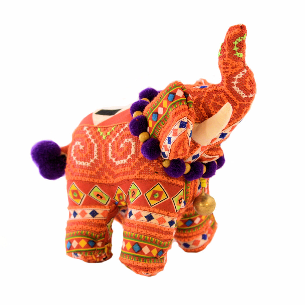 Tribal Fabric Stuffed Elephant with Tusks