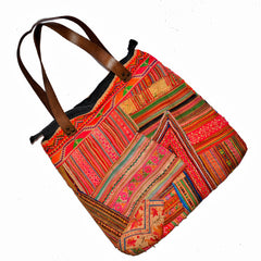 Hill Tribe Bag with Vintage Hmong Fabric and Leather Straps