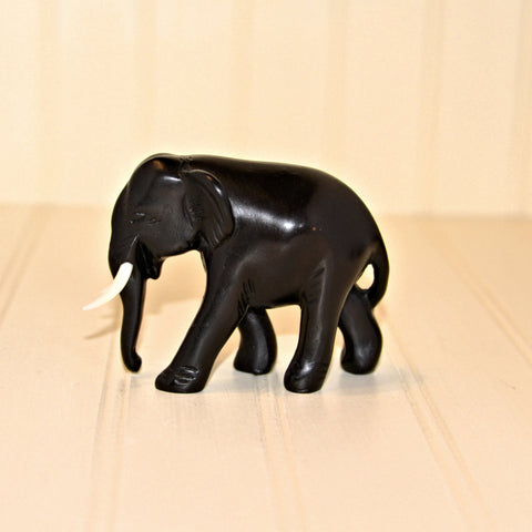 Bronze Resin Elephant - Trunk Down with Tusks