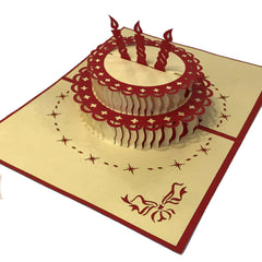 Pop-up Birthday Cake Card with Butterfly on Cover