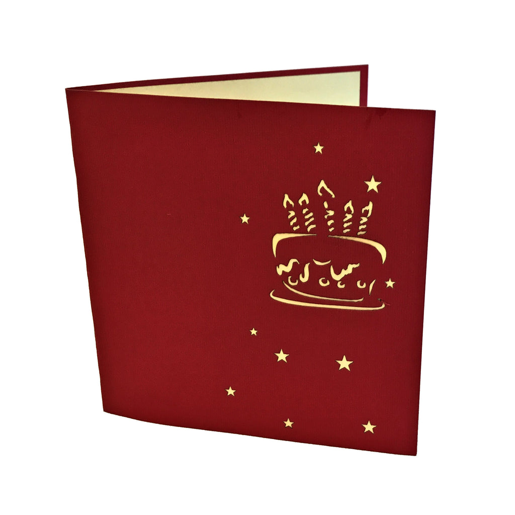 Pop-up Birthday Cake Card - Colored Stars