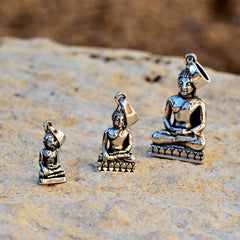 Sterling Silver Buddha Pendant - Large (1.3in/34mm)