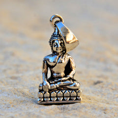 Sterling Silver Buddha Pendant - Medium (.98in/25mm)