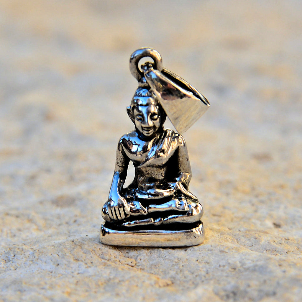 Sterling Silver Buddha Pendant - Small (.74in/19mm)