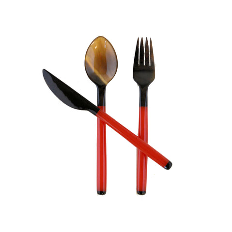 Resin Handle with Water Buffalo Horn Fork, Knife & Spoon Set - Red