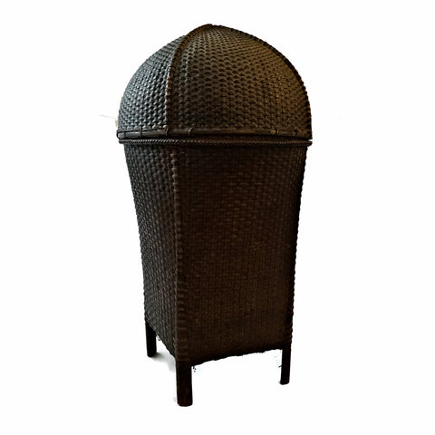 Antique Bamboo Rattan Basket with Lid