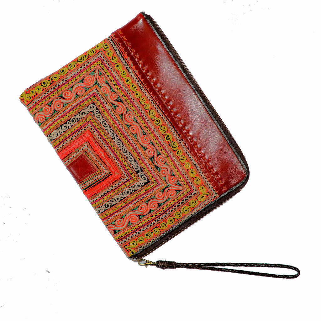 Leather iPad Case with Hmong Fabric