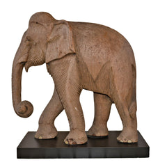 Antique Teak Elephant on Black Base