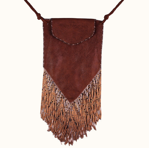 Olivia Dar Beaded Brown Suede Bag