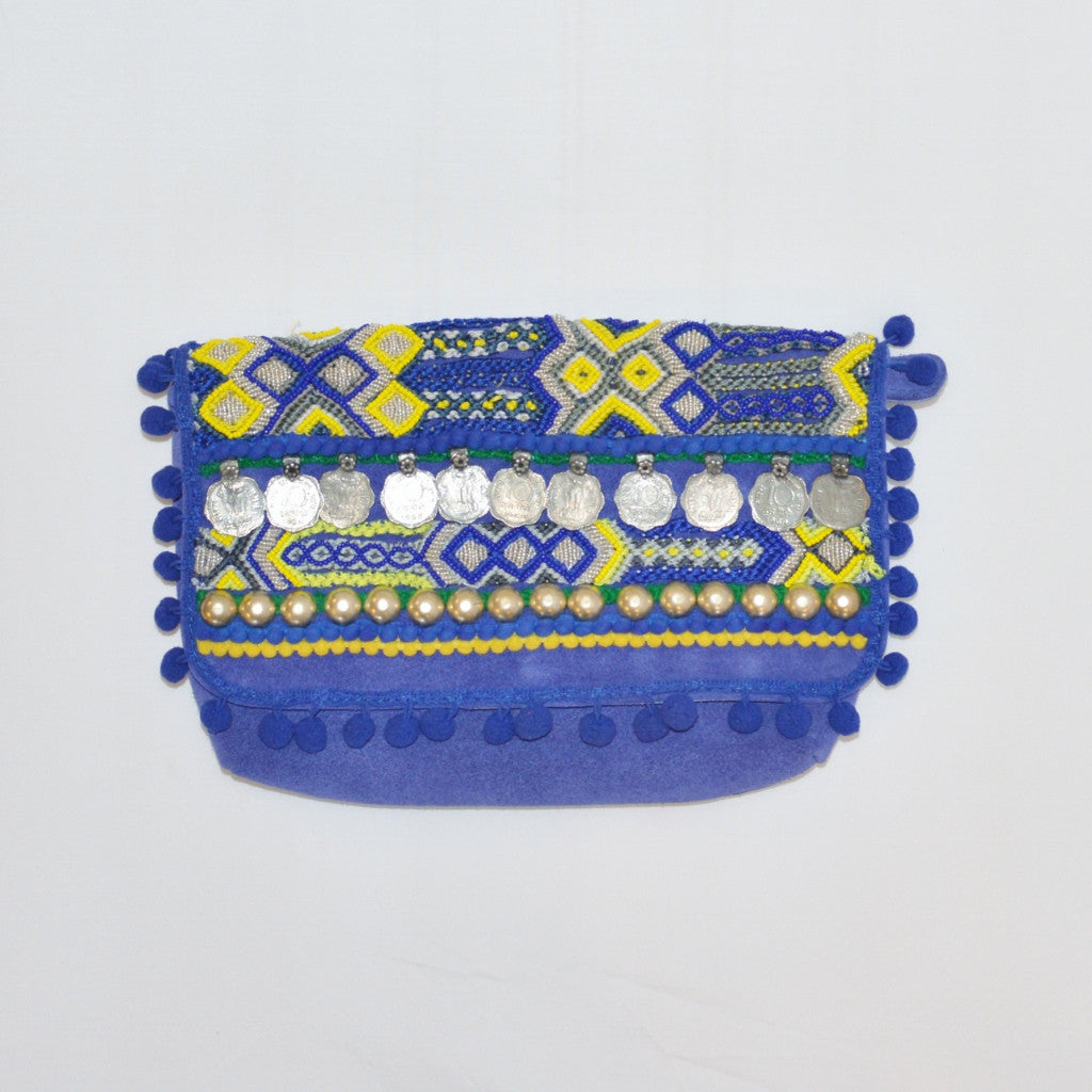 Olivia Dar Electric Blue Beaded Suede Clutch
