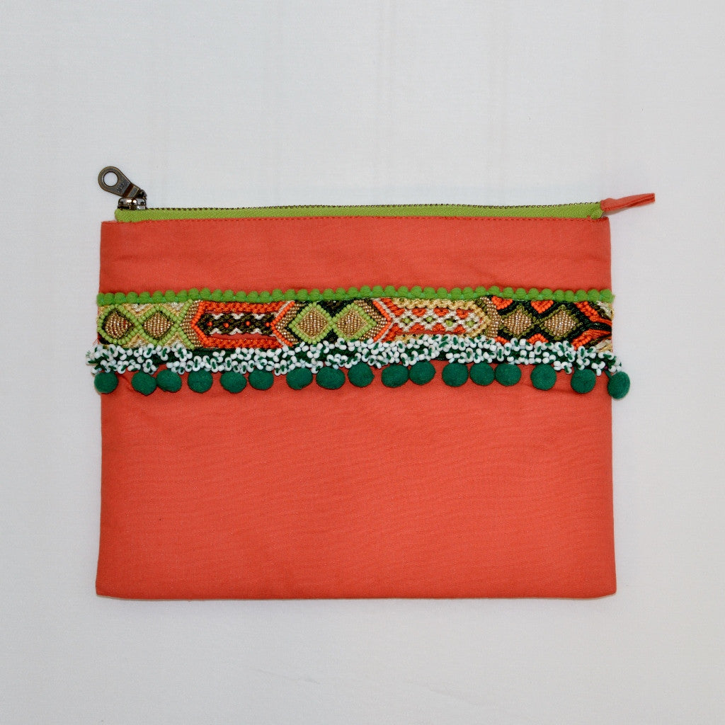 Olivia Dar Cotton Beaded Clutch