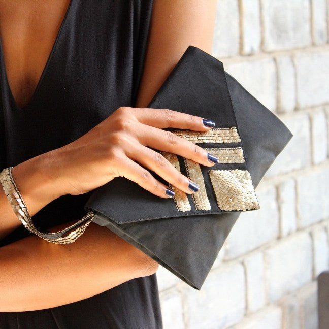 Olivia Dar Chevron Diamond Gold Sequin Black Silk Clutch with Wrist Strap