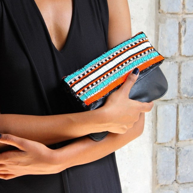 Olivia Dar Black Leather Clutch with Beading and Strap