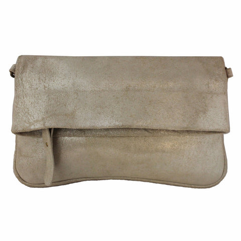 Olivia Dar Taupe Metallic Leather Clutch