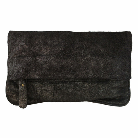 Olivia Dar Black Leather with Silver Metallic Clutch