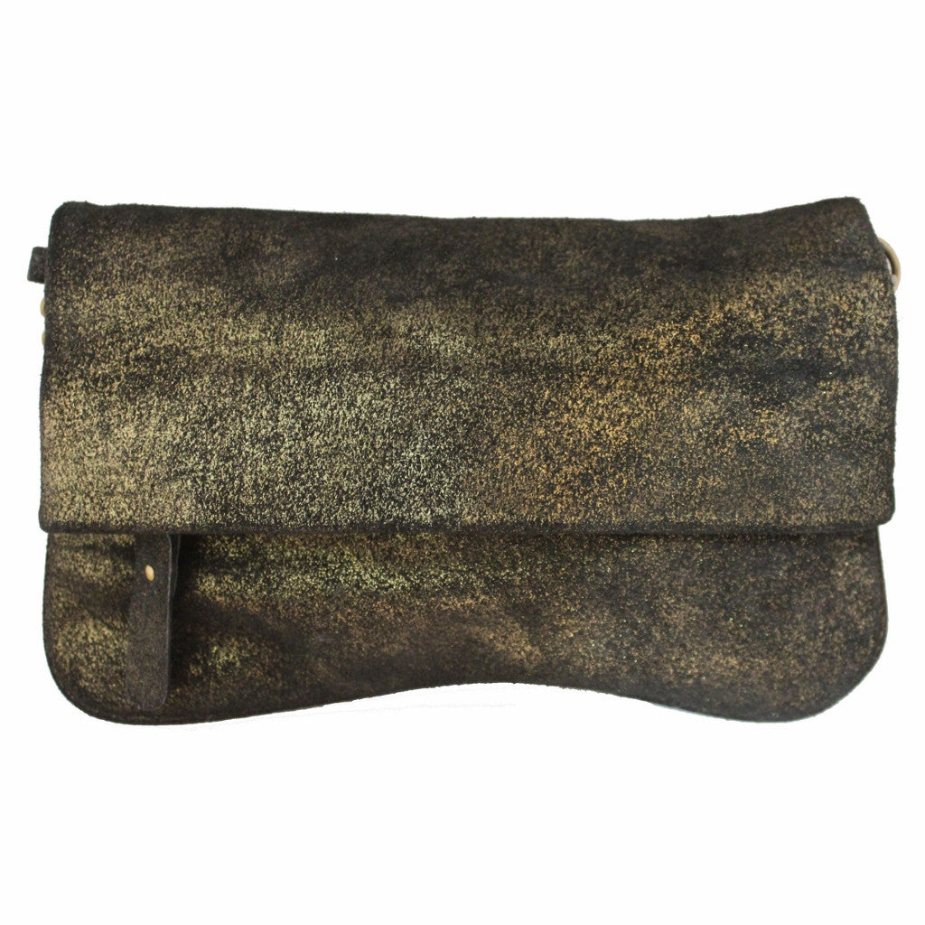 Olivia Dar Black Leather with Bronze Metallic Clutch