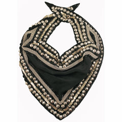 Olivia Dar Silver Studded and Beaded Black Silk Scarf