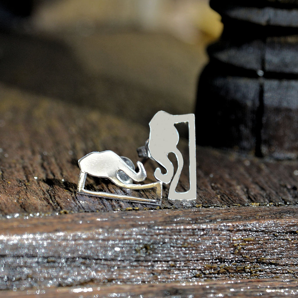 Sterling Silver Elephant Story Logo Stud Earrings